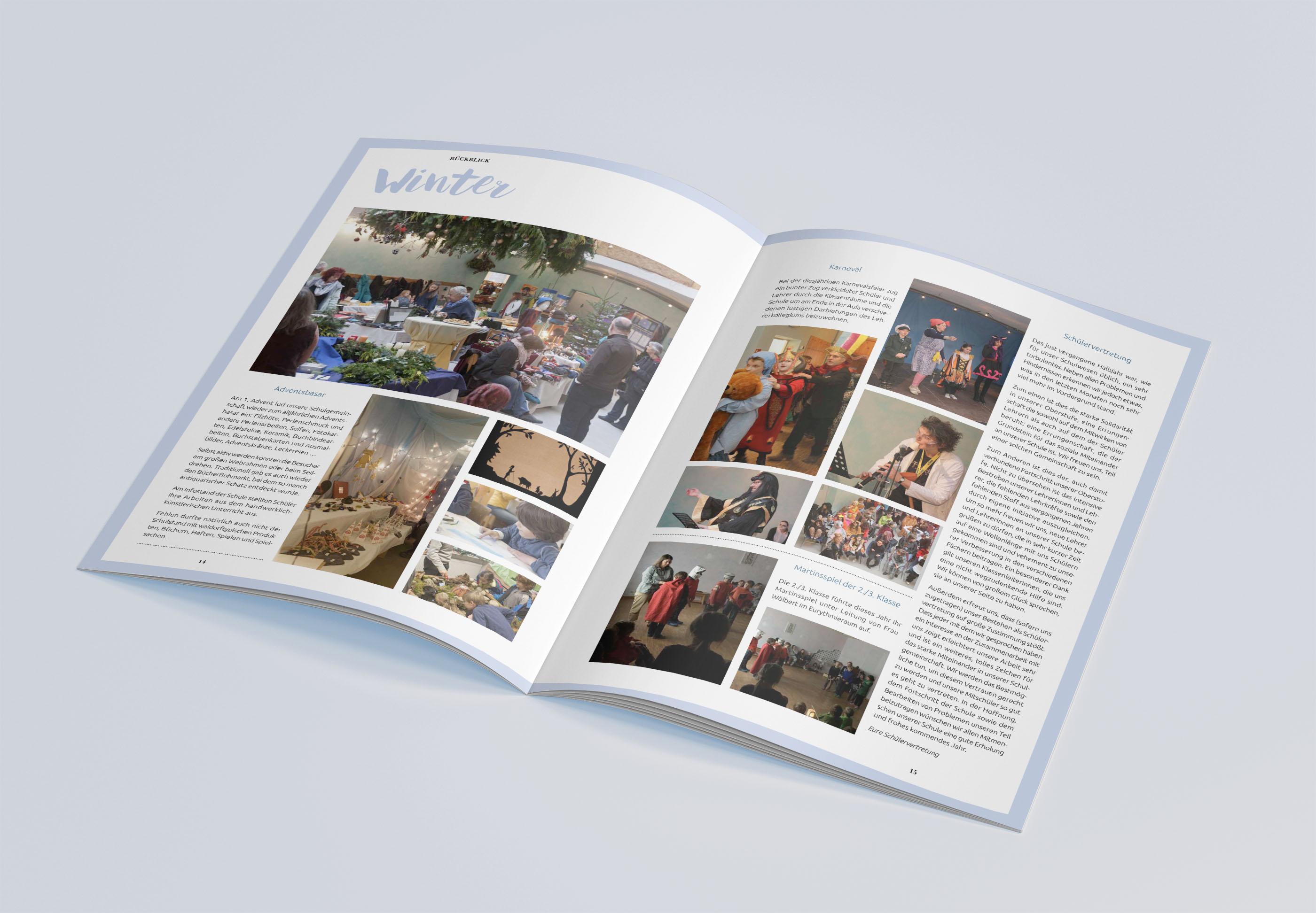 Jahresheft der Freien Waldorfschule Kastellaun, Gestaltung Marius Cofflet form 206